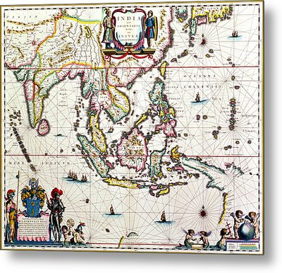 Antique Map Showing Southeast Asia And The East Indies Metal Print by Willem Blaeu