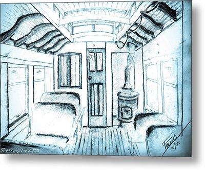 Metal Print featuring the drawing Antique Passenger Car by Shannon Harrington
