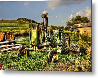 Antique Tractor Metal Print by Dan Friend