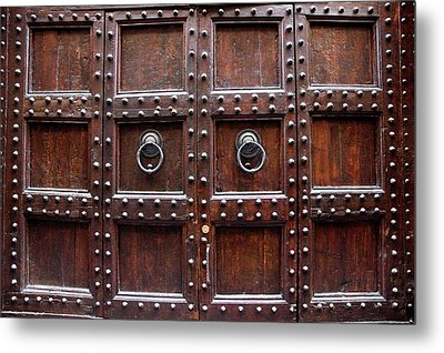 Antique Wood Door In Florence Metal Print by Giuseppe Ceschi