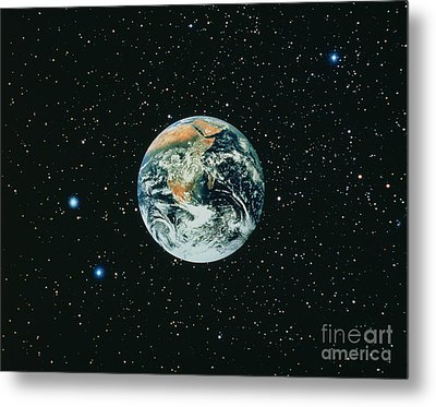 Apollo 17 View Of Earth With Starfield Metal Print by NASA / Science Source