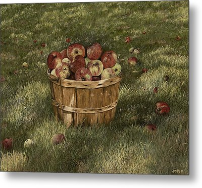 Apples In Basket Metal Print