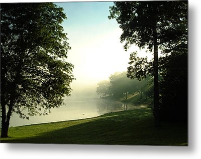 Aqua Lake Myst And Trees Metal Print by Peg Toliver