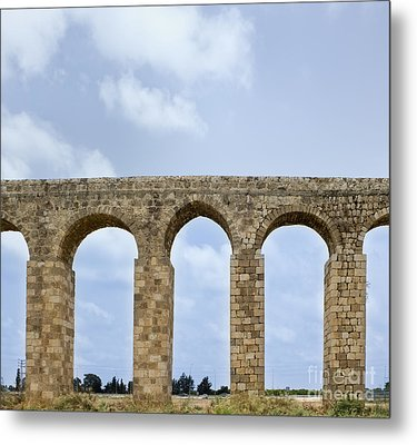 Aqueduct Of Acre Metal Print by Noam Armonn