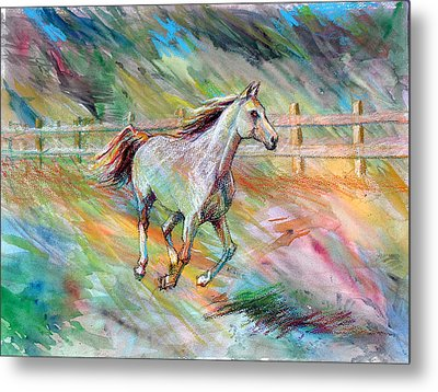Metal Print featuring the painting Arabian Dream Horse by Nancy Tilles