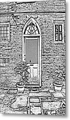 Arched Doorway French Quarter New Orleans Photocopy Digital Art Metal Print by Shawn O'Brien