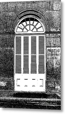 Arched White Shuttered Window French Quarter New Orleans Photocopy Digital Art  Metal Print by Shawn O'Brien
