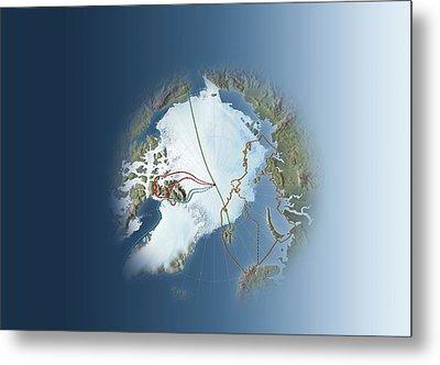Arctic Exploration, Route Maps Metal Print by Mikkel Juul Jensen