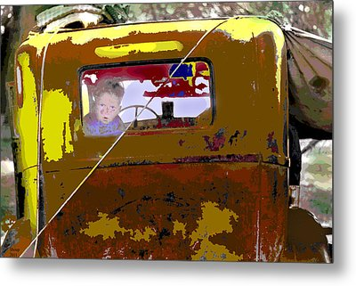 Metal Print featuring the mixed media Are We There Yet by Charles Shoup