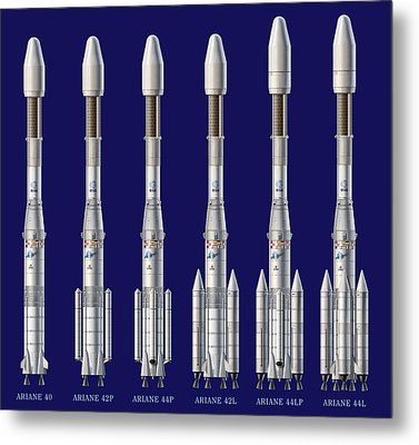 Ariane 4 Rocket Versions, Artwork Metal Print by David Ducros
