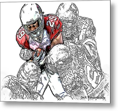 Arizona Cardinals Chester Taylor Seattle Seahawks David Hawthorne Clinton Mcdonald And Red Bryant Metal Print by Jack K