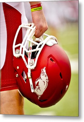 Arkansas Razorback Helmet Metal Print by Replay Photos