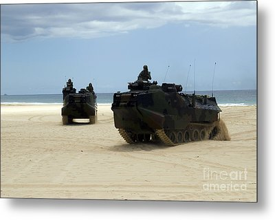 Armored Assault Vehicles Performing Metal Print by Stocktrek Images