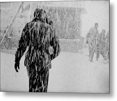 Army Base Snowstorm Metal Print by Dale Stillman