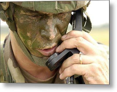 Army Master Sergeant Communicates Metal Print by Stocktrek Images