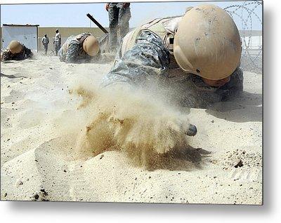 Army Soldier Pulls Himself Metal Print by Stocktrek Images