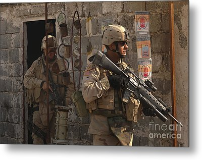 Army Soldiers Keeping An Eye Metal Print by Stocktrek Images