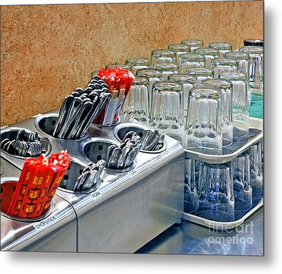Arranged Glasses And Silverware Metal Print by David Buffington