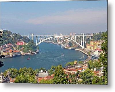 Arrábida Bridge Over River Metal Print by Cmanuel Photography - Portugal