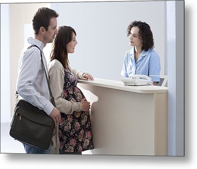 Arriving At Maternity Unit Metal Print by