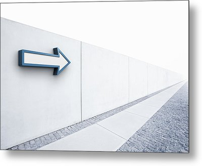 Arrow Pointing Into Distance Metal Print by Jorg Greuel