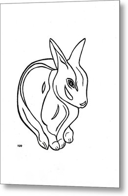 Metal Print featuring the drawing Art Deco Bunny by Katherine Dohnalek
