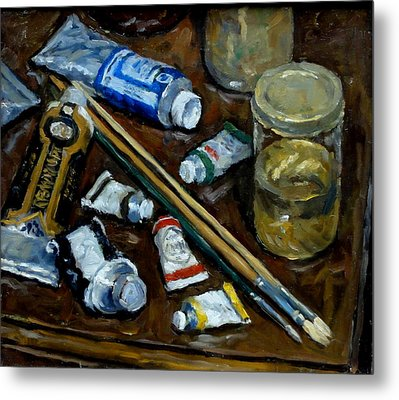 Still Life Tubes And Brushes Metal Print by Thor Wickstrom
