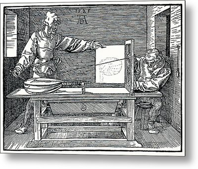 Artist Drawing A Lute Metal Print by Sheila Terry