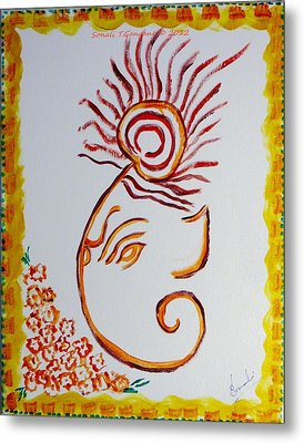 Metal Print featuring the painting Artistic Lord Ganesha by Sonali Gangane
