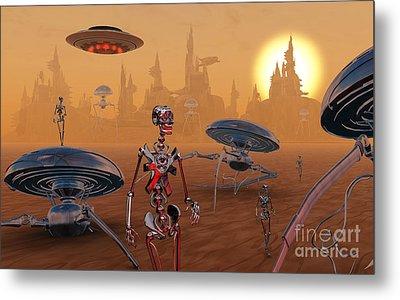 Artists Concept Of Life On Mars Long Metal Print by Mark Stevenson
