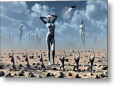 Artists Concept Of Mankinds Reliance Metal Print by Mark Stevenson