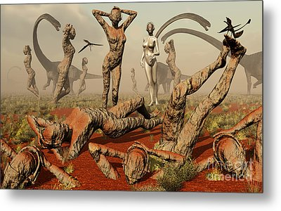 Artists Concept Of Mutated Dinosaurs Metal Print by Mark Stevenson