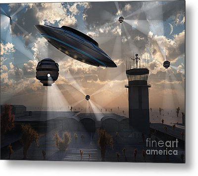 Artists Concept Of Stealth Technology Metal Print by Mark Stevenson
