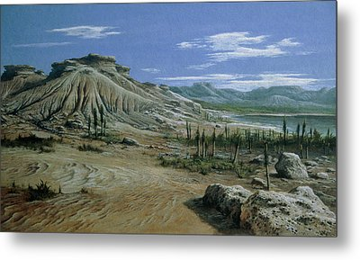 Artist's Impression Of Triassic Period Landscape. Metal Print by Ludek Pesek