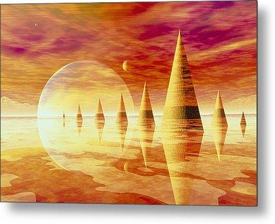 Artwork Of An Alien Landscape Metal Print by Mehau Kulyk