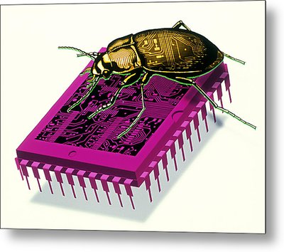 Artwork Of Millennium Bug With Beetle On Microchip Metal Print by Victor Habbick Visions