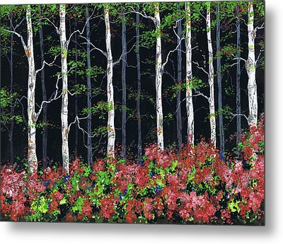Aspens At Night Metal Print