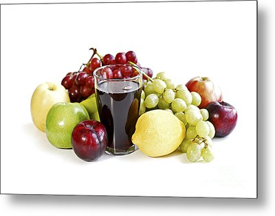 Assorted Fruits On White Metal Print by Elena Elisseeva