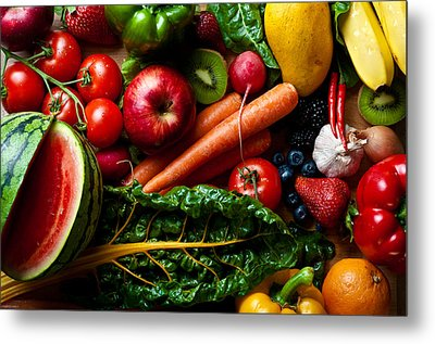 Assorted Fruits Vegetables And Spicy Stuff Metal Print by Arjuna Kodisinghe