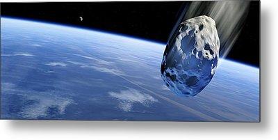 Asteroid Approaching Earth, Artwork Metal Print by Detlev Van Ravenswaay