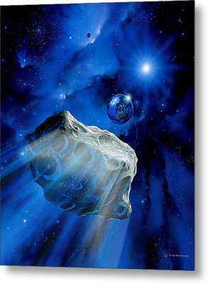 Asteroid Approaching Earth Metal Print by Detlev Van Ravenswaay