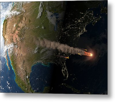Asteroid Approaching Earth Metal Print by Joe Tucciarone Library