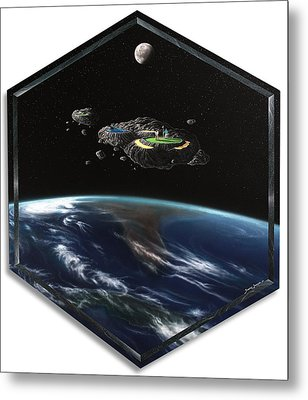 Asteroid Golf Metal Print by Snake Jagger