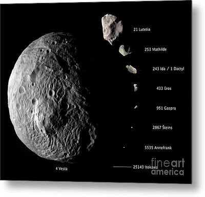 Asteroid Size Comparison With Vesta Metal Print