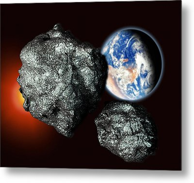 Asteroids Approaching Earth Metal Print by Victor Habbick Visions