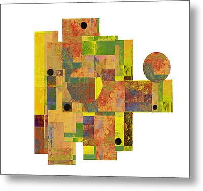 Asymmetry 1 Abstract Art Collage Metal Print by Ann Powell