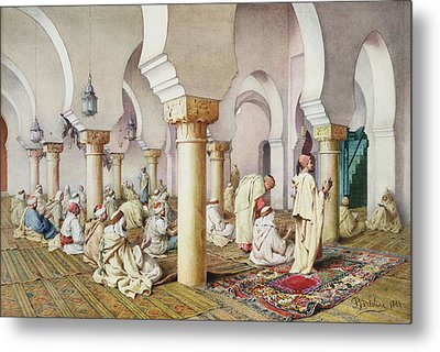 At Prayer In The Mosque Metal Print by Filipo Bartolini or Frederico
