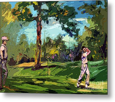 At The Golf Course Vintage Golfers Metal Print by Ginette Callaway