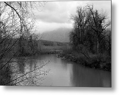 Metal Print featuring the photograph At The River Turn Bw by Kathleen Grace