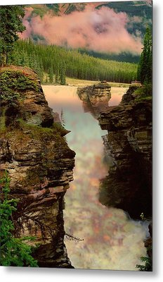 Athabasca Falls Evening Metal Print by Shirley Sirois
